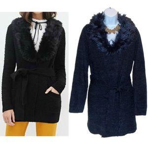 NWT F&F Faux Fur Collar Cardigan